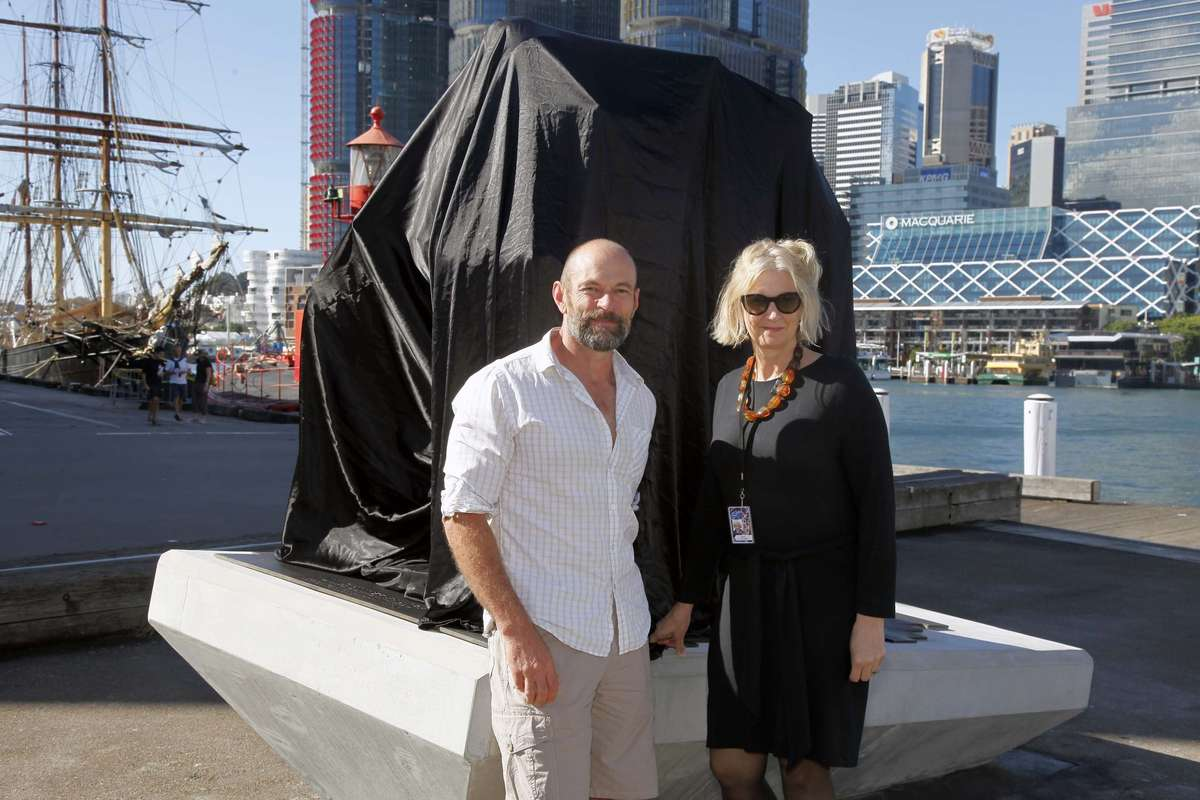 The artist, Brett Garling, and Daina Fletcher, Senior Curator. Image: Andrew Frolows / ANMM.