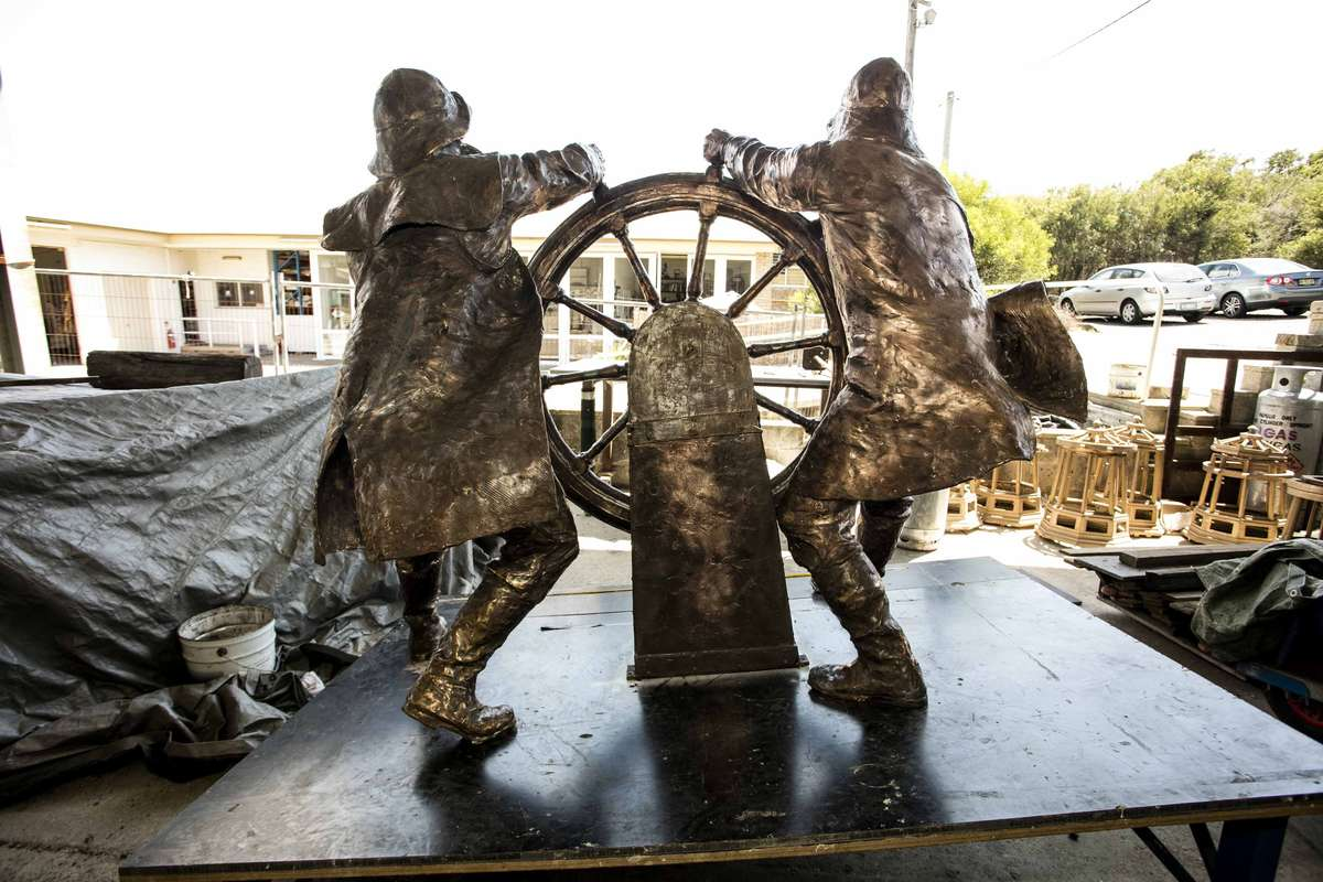 The Windjammer Sailors, ready to battle any storm at their last day at the Australian Bronze Foundry. Image: Andrew Frolows / ANMM.