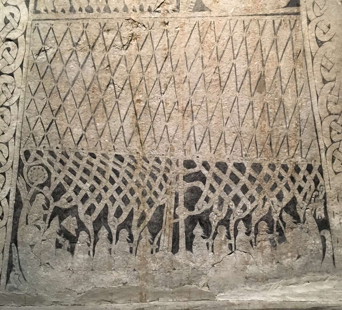 Picture stone detail showing a Viking Age ship, in the Gotlands Museum