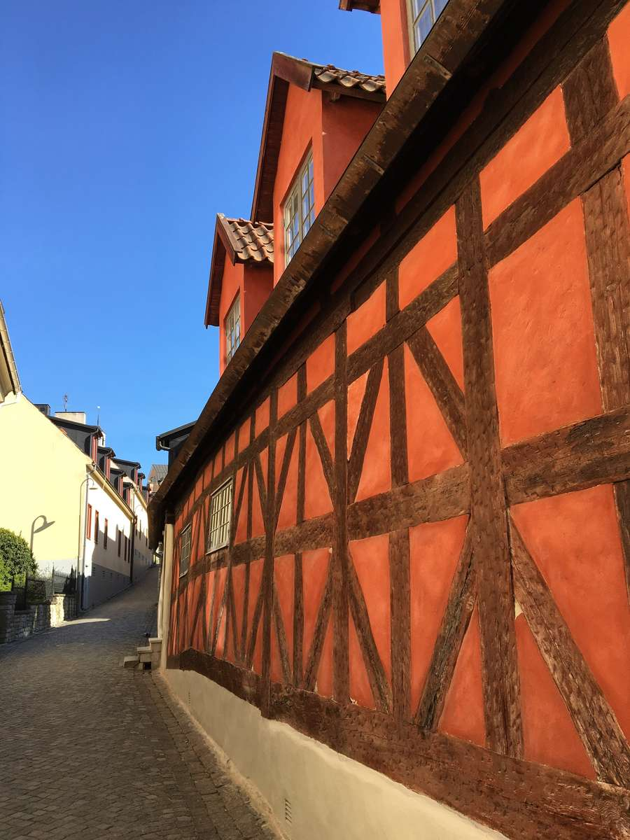 A timber-framed medieval building in Visby