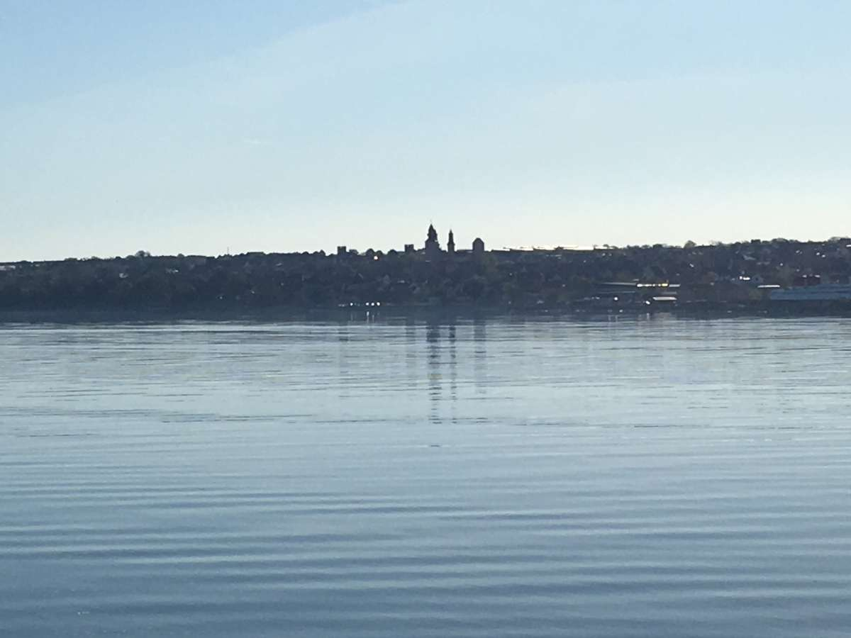 Visby old town spires from across a very calm Baltic Sea