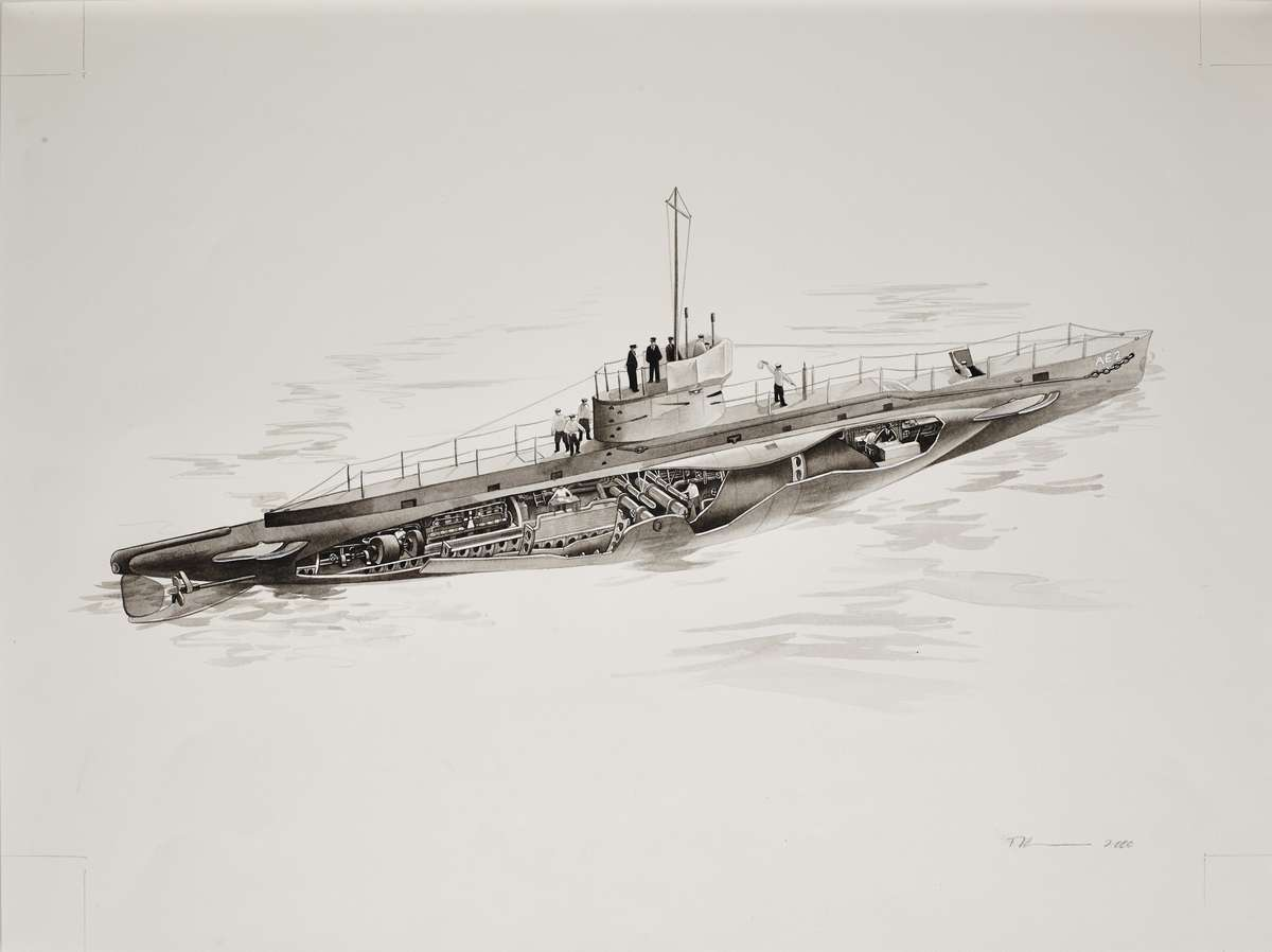 Cutaway drawing showing AE2 1913 - 1915. Image: Watercolour by Tiffanie Brown 2000 for The Australian Centenary History of Defence Volume III ANMM Collection / 00037289.