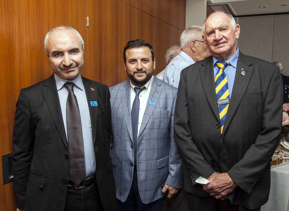 Mr. Sebahattin Turan (left), Vice Consul, Administrative and Social Affairs; Mr. Ahmet Gökdemir, Imam of Auburn Gallipoli Mosque with Bill Harrigan RSL Metropolitan State Councillor The Returned and Services League of Australia. Image: Andrews Frolows / ANMM.