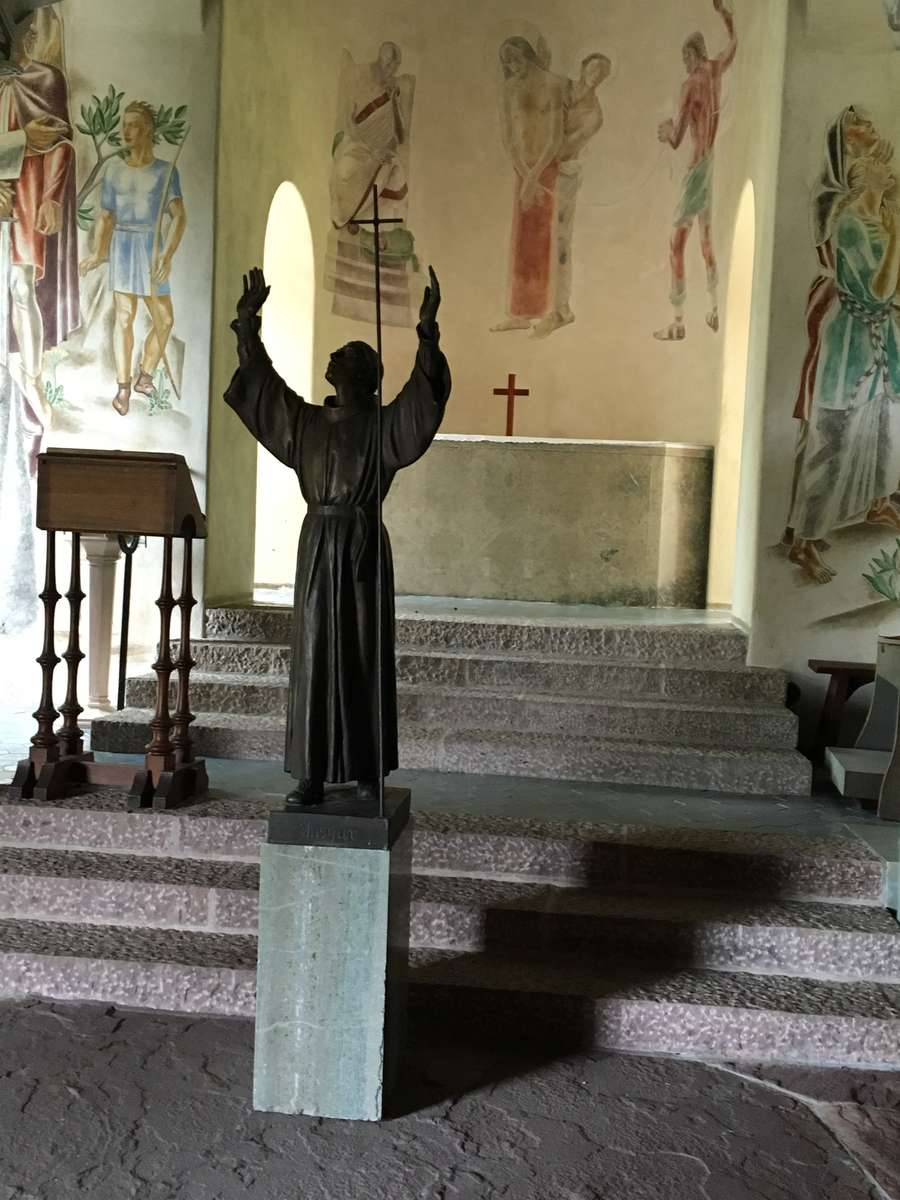 When the chapel doors are open a statue of Ansgar greets the outdoor worshippers.