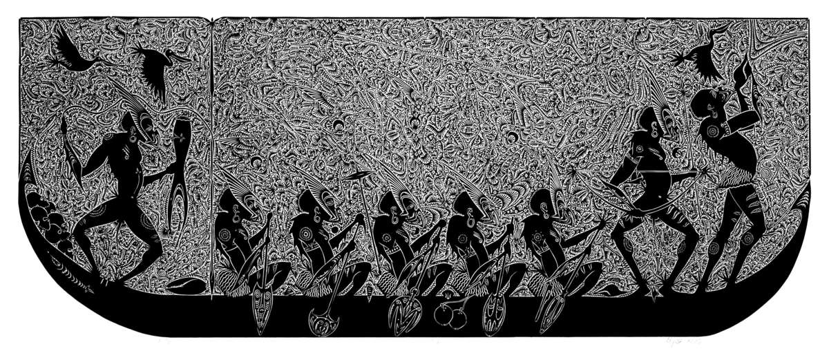 'Zugubal' 2006. Travellers paddle a gul (canoe), which is a key symbol of connectivity in Zenadh Kes (Torres Strait) cosmology, navigating all the cycles of land, sea, sky and spiritual life. ANMM Collection 00054665. Reproduced courtesy Alick Tipoti and Australian Art Network.