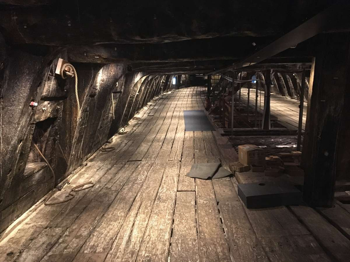 A rare view inside Vasa. Public access to the interior of Vasa is not possible due to the fragile state and ongoing conservation