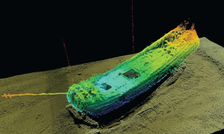 This 3D reconstruction image shows the Ghost Ship sitting upright on the sea bed. The fore and mainmasts are still standing, while the mizzen fell towards the bow in the process of wrecking, probably when the ship hit the sea-bed. MMT (Marin Mätteknik)