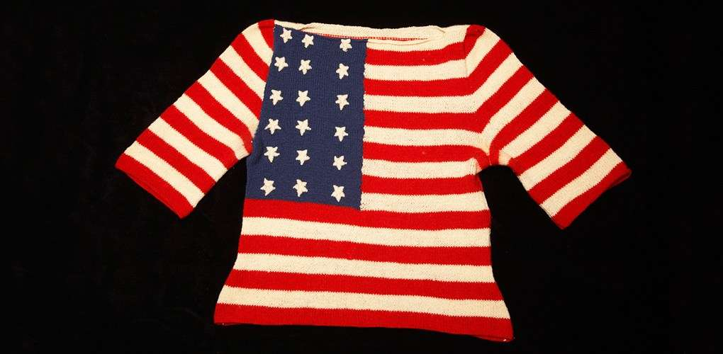 Hand knitted Stars and Stripes jumper, c1945. ANMM Collection 00009354.