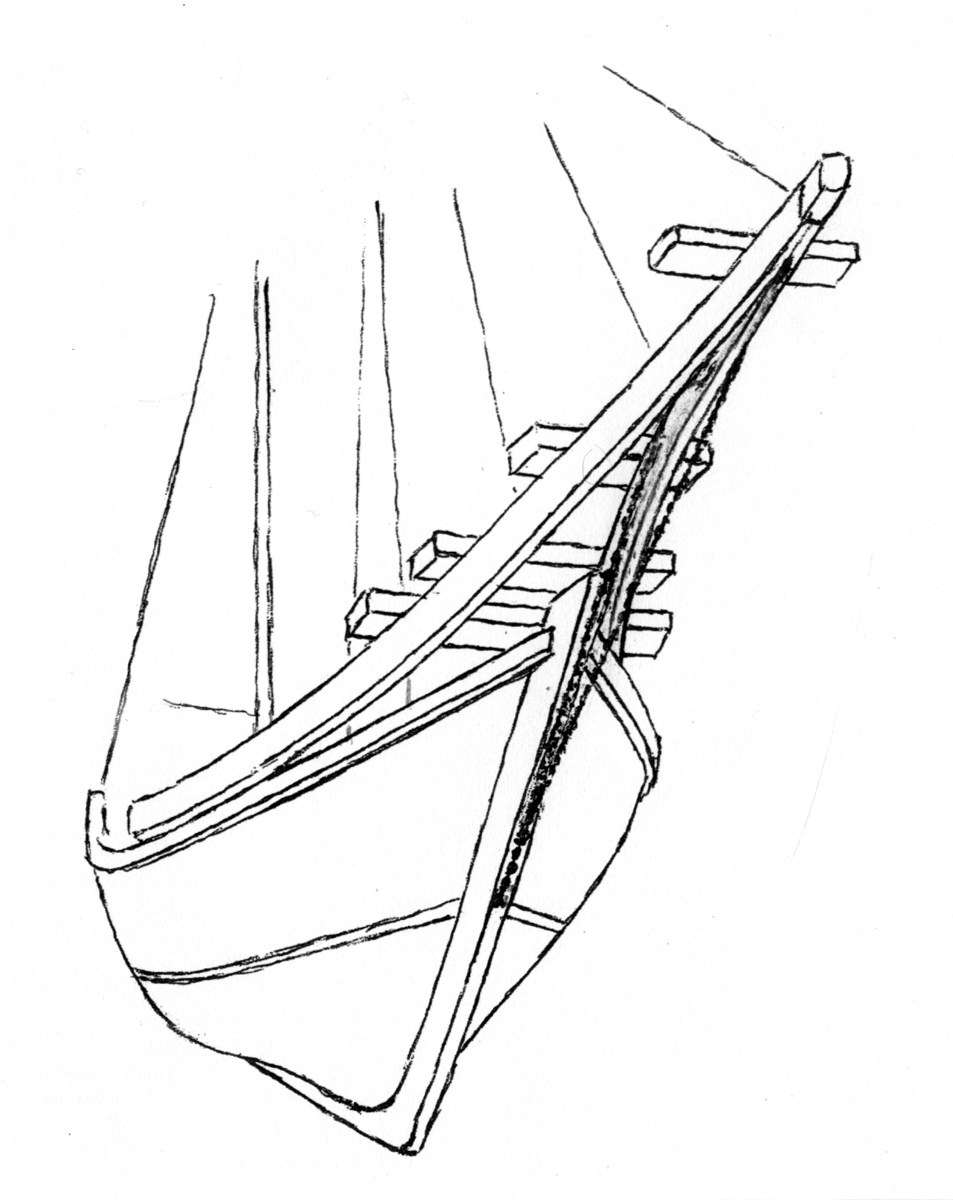 Bow of a traditional pinisi, based on a model. Image: Richard Gregory