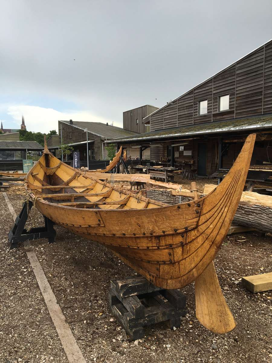 A small Viking Age vessel being built at the museum