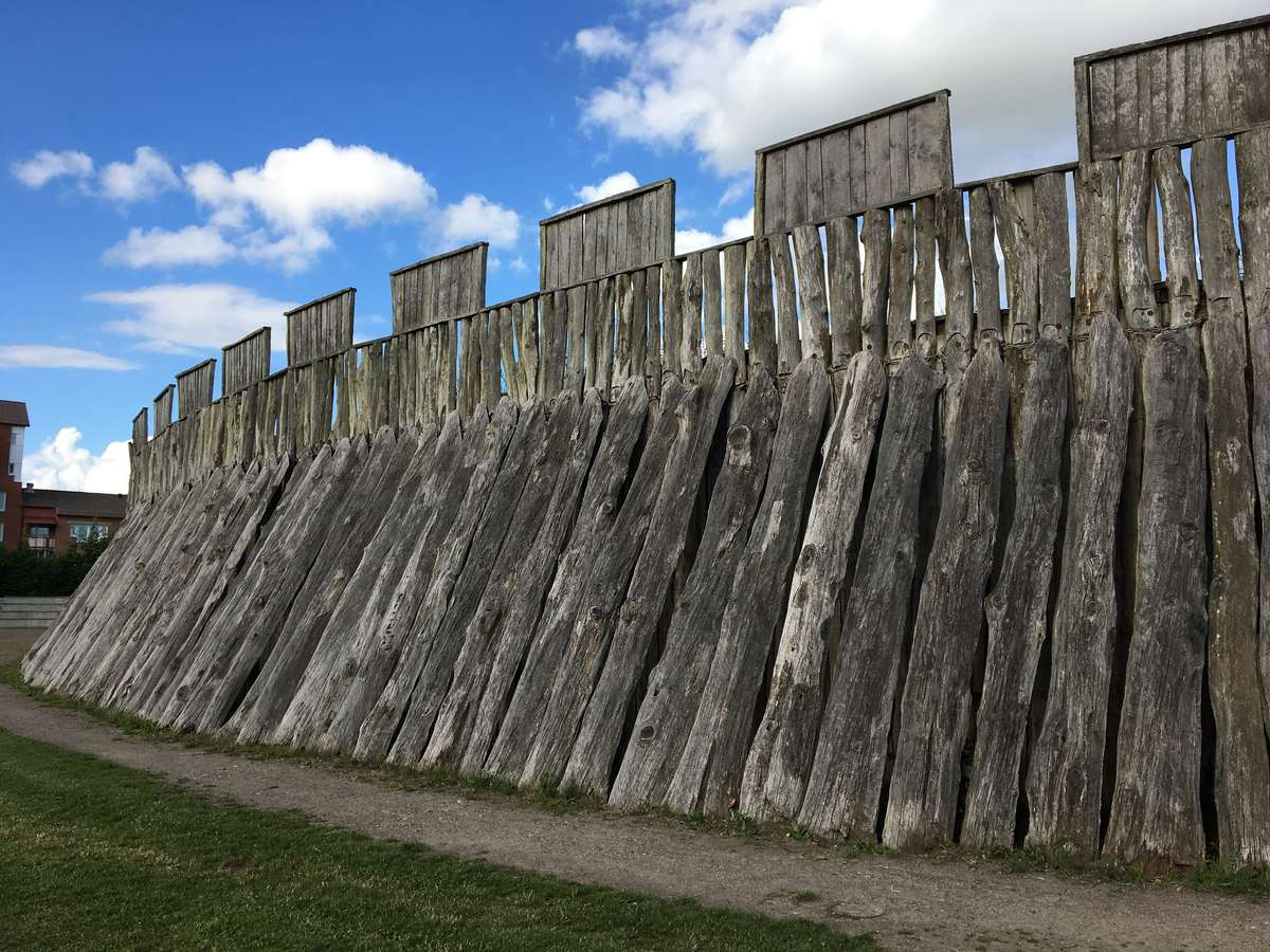 Reconstructed Trelleborgen Viking Age ring fortress walls at Trelleborg in southern Sweden.