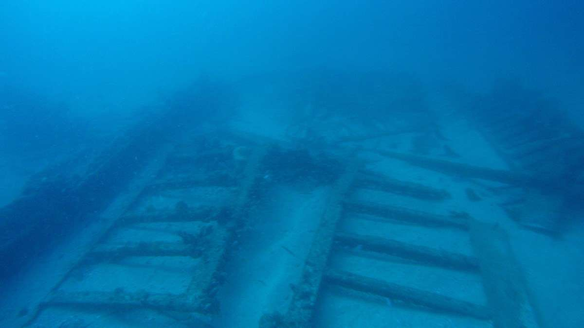 The collapsed cargo hold of the Lady Darling. Image: ANMM.