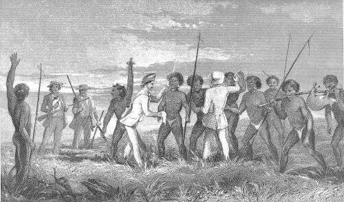 A sketch of Brierly and Thomas Huxley at Redscar Bay, Papua New Guinea, 17th June 1849. Image from Macgillivary, John