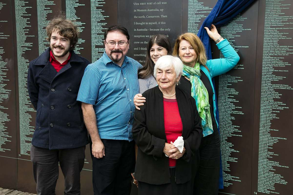 Ilse Fait and her family at the Welcome Wall ceremony September 2016. Image: Andrew Frolows / ANMM.
