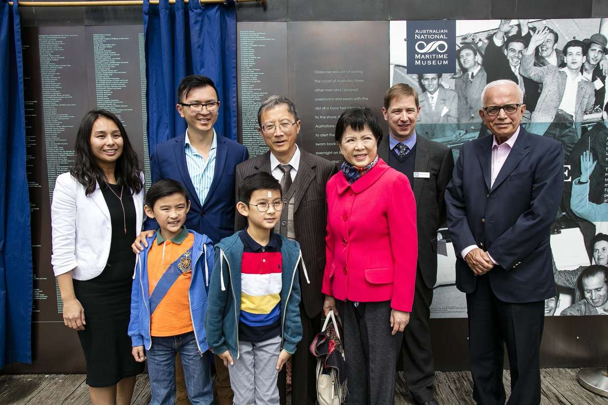 Lin Hu and his family at the Welcome Wall ceremony September 2016. Image: Andrew Frolows / ANMM.