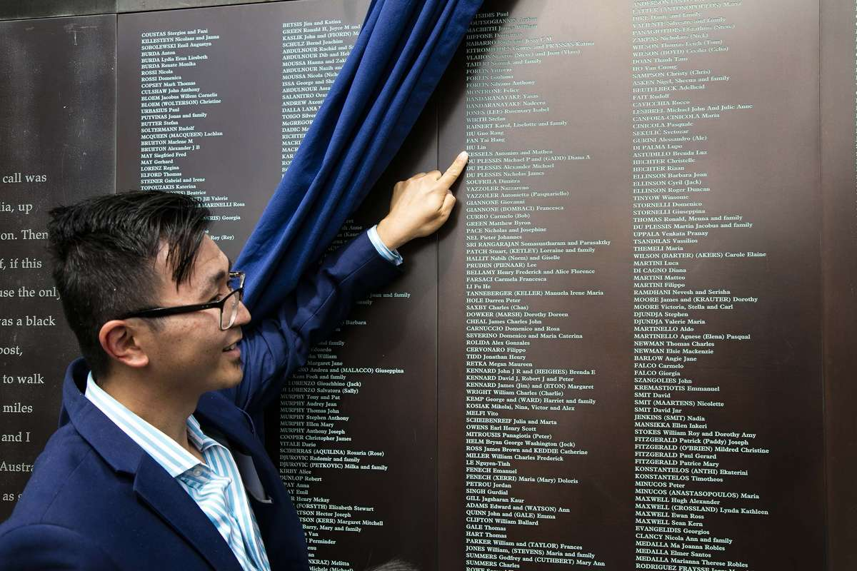 Lin Hu at the Welcome Wall ceremony September 2016. Image: Andrew Frolows / ANMM.