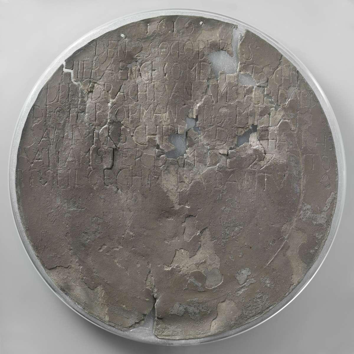 Dirk Hartog plate, 1616. Tin (metal), 36.5 cm (diameter). Reproduced courtesy Rijksmuseum, Amsterdam