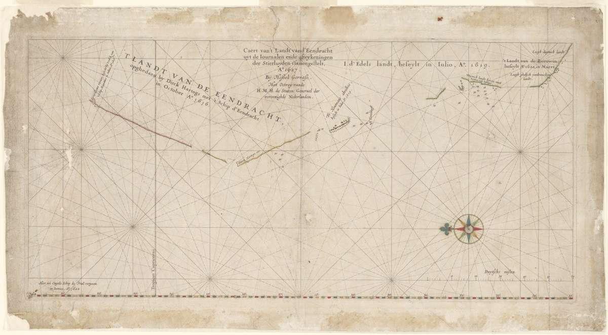 Hessel Gerritsz, Caert van't Landt van d'Eendracht uyt de Iournalen ende afteykeningen der Stierluyden t'samengestelt [Chart of the Land of the Eendracht], 1627. Reproduced courtesy National Library of Australia