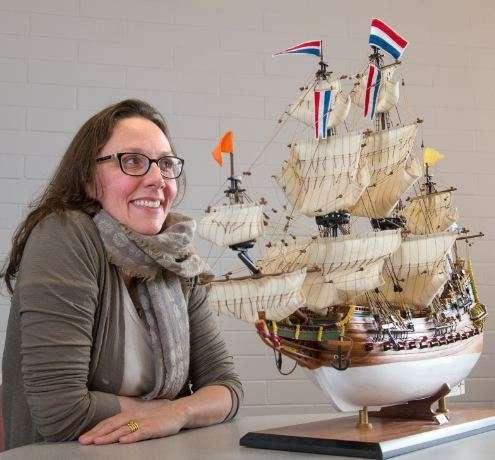 Dr Wendy van Duivenvoorde with a model of Batavia. © Flinders University