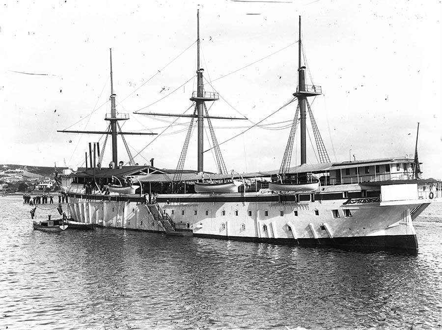 Training ship Tingira, probably moored at Rose Bay, Sydney Harbour. Image: ANMM Collection ANMS1092[083].