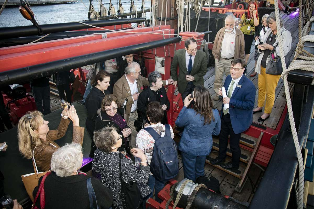 ANMM director Kevin Sumption and Dutch Consul-General Willem Cosijn with guests on board HMB Endeavour, 2016. Photographer Andrew Frolows/ANMM