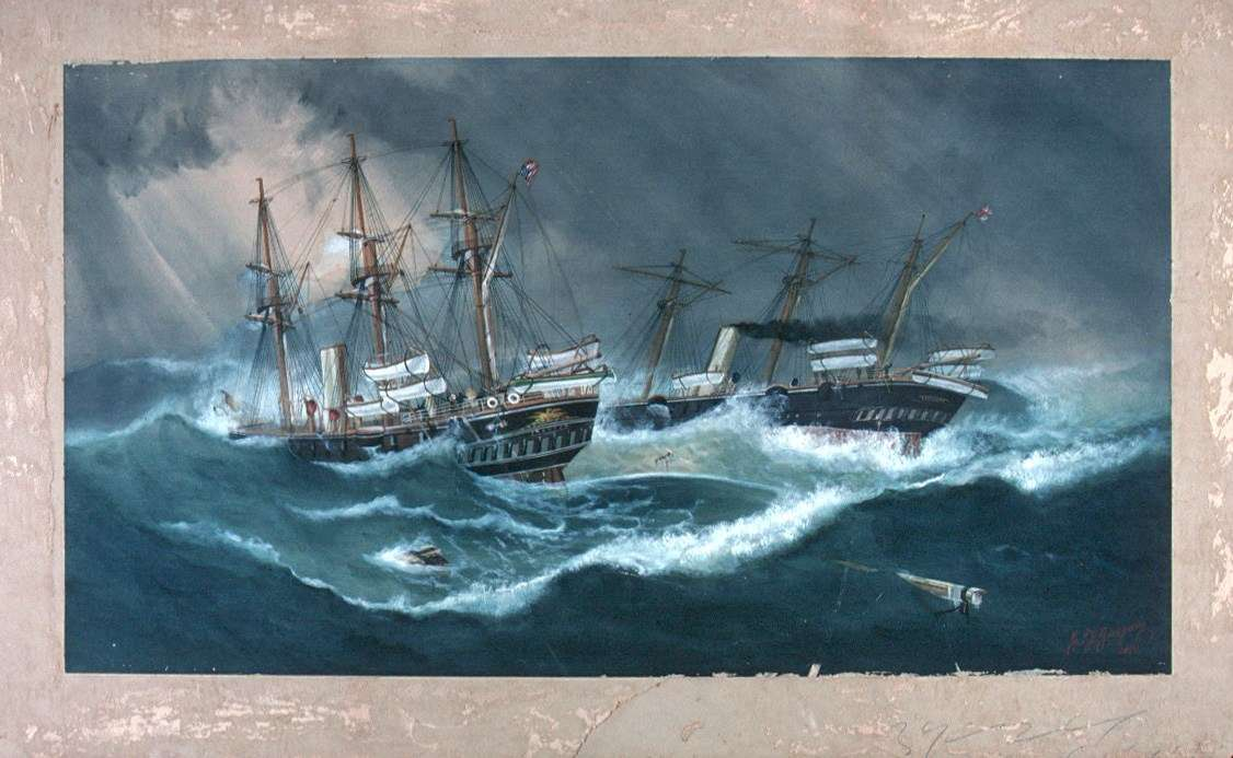 Painting by Captain Henry Press of a gale at sea. Terror enough for seafarers, no witches needed. ANMM Collection 00003927.