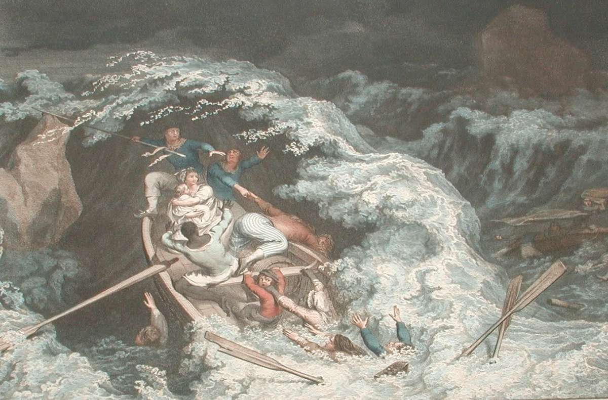 Engraving showing passengers and crew of <em>The Nancy</em>, wrecked off Sicily in 1784. The woman in the image is believed to be Ann Cargill who perished along with all other passengers and crew. It was rumored that when Ann