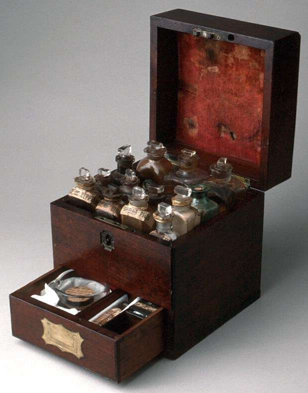 A 19th century medicine chest containing lotions and potions (and a fair bit of luck). ANMM Collection 00006090.