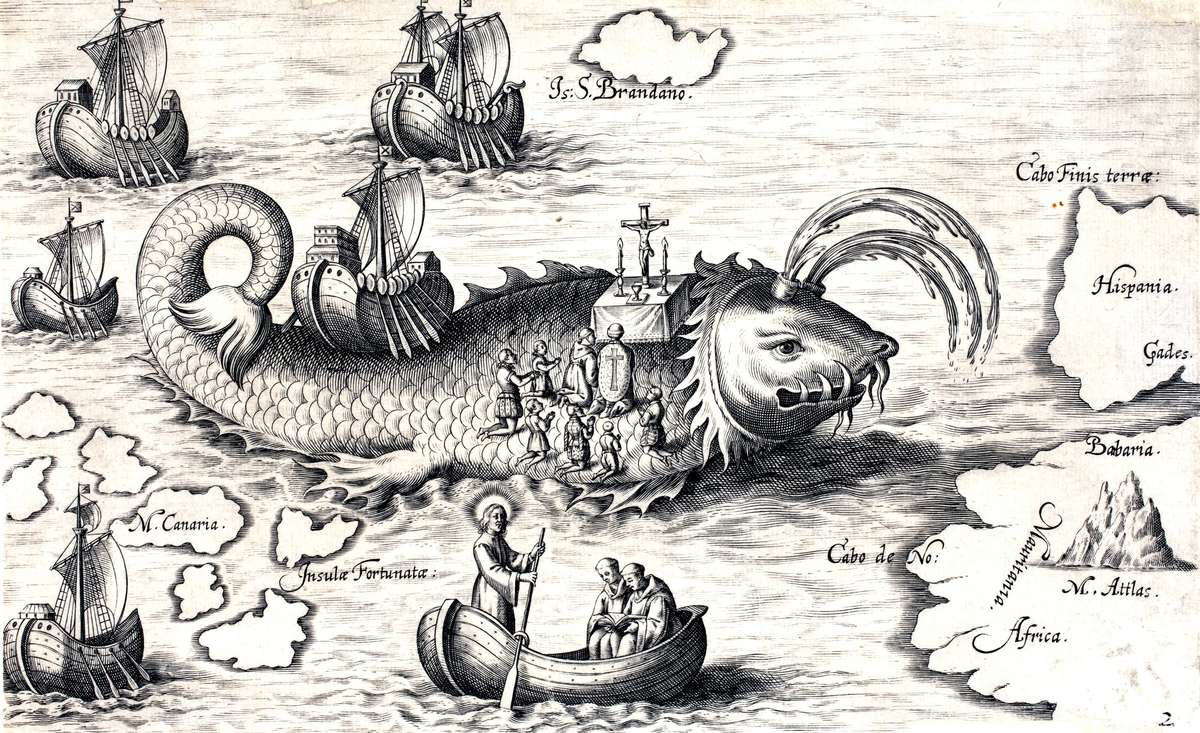 St Brendan saying mass on the back of a sea monster, 1621. ANMM Collection 00019658.