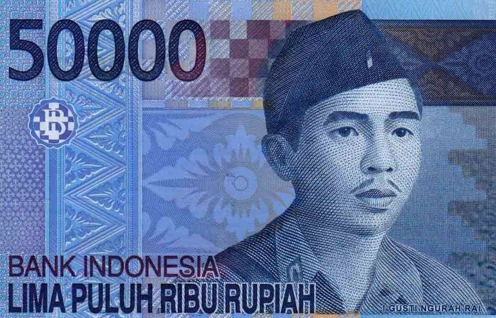 Balinese Independence hero Ngurah Rai features on the 50000 rupiah bank note