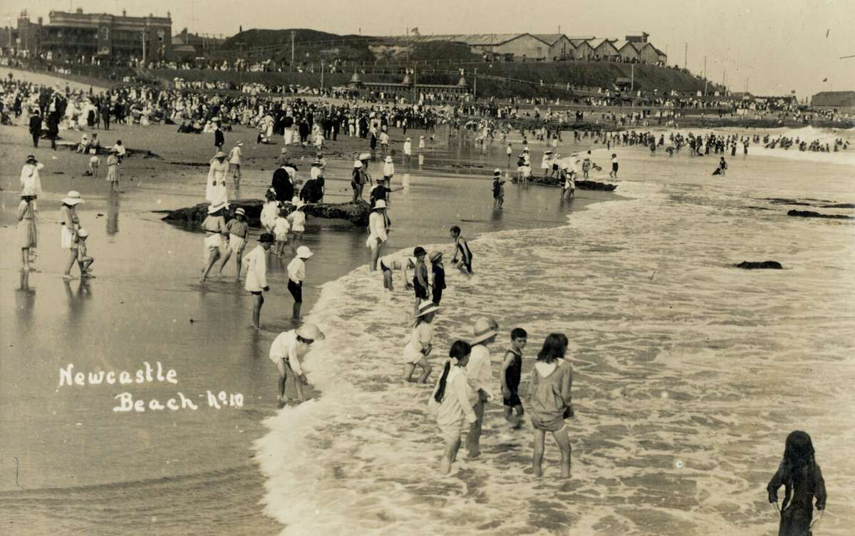Beachgoers at Newcastle, c1910. This period saw Australians embrace swimming at the beach for leisure. ANMM Collection ANMS0551[041].