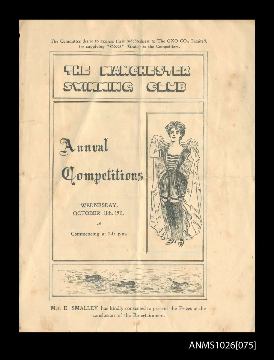 Program for The Manchester Swimming Club, October 1911. ANMM Collection ANMS1026[075].