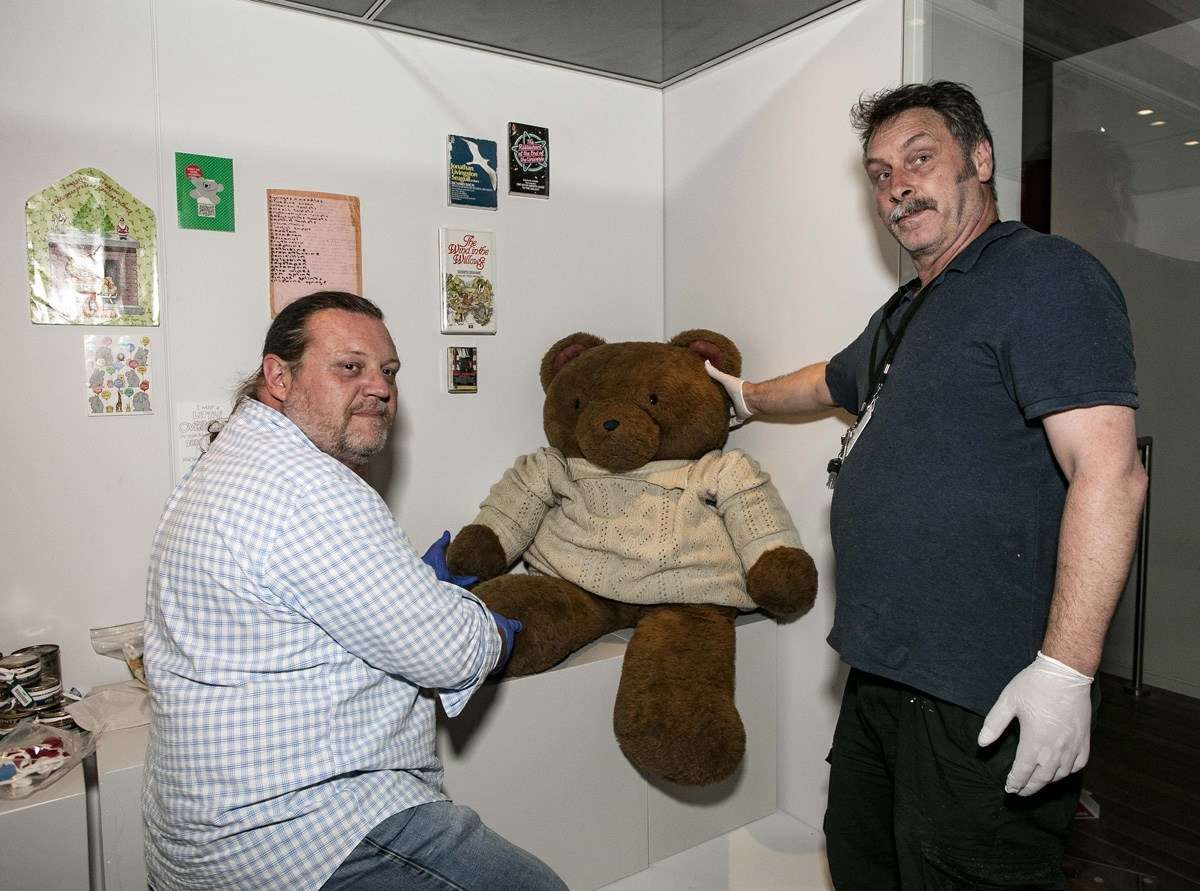 Our team installing Big Ted for the new exhibit. Image: ANMM.