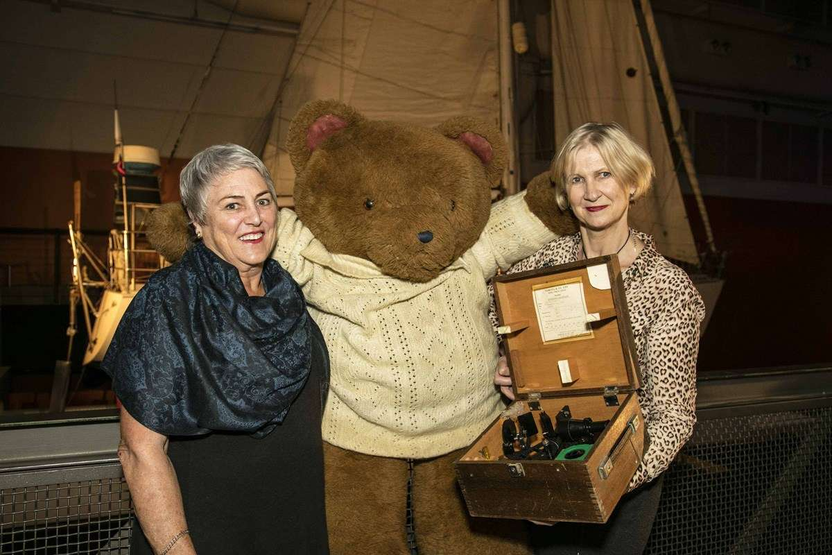 Kay Cottee with Big Ted and Senior Curator Daina Fletcher. Image: ANMM.