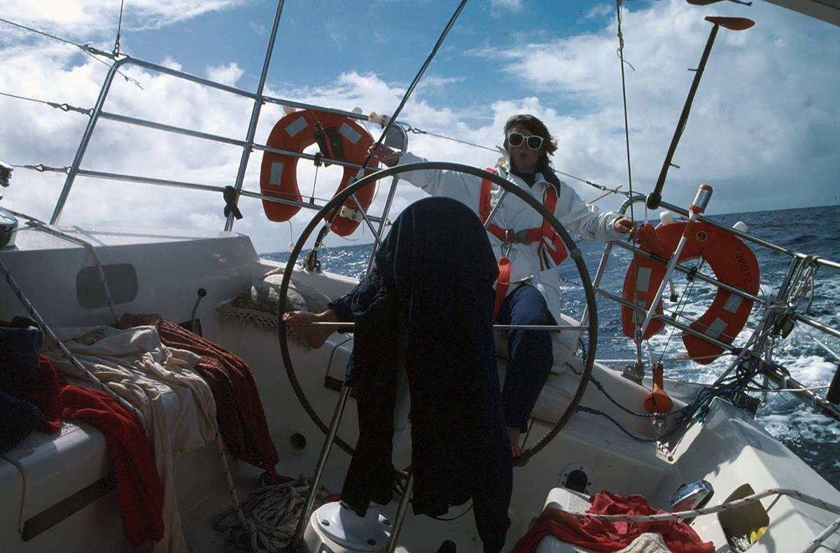 Steering - by foot - across the Pacific Ocean. ANMM Collection, reproduced courtesy Kay Cottee.