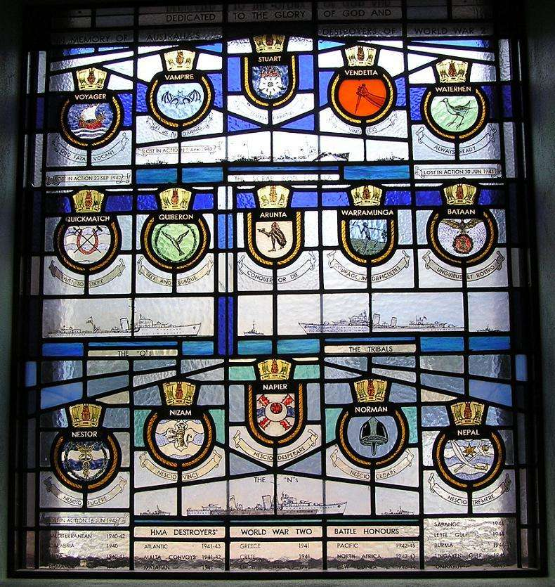 The top row of this stained-glass window in the Naval Chapel of Sydney's Garden Island Naval Base features the destroyers of the Scrap Iron Flotilla. Image Wikipedia