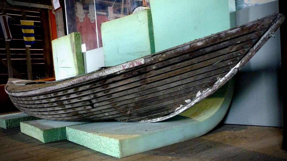 The surf craft in its new museum location at Tathra. Image: David Payne / ANMM.