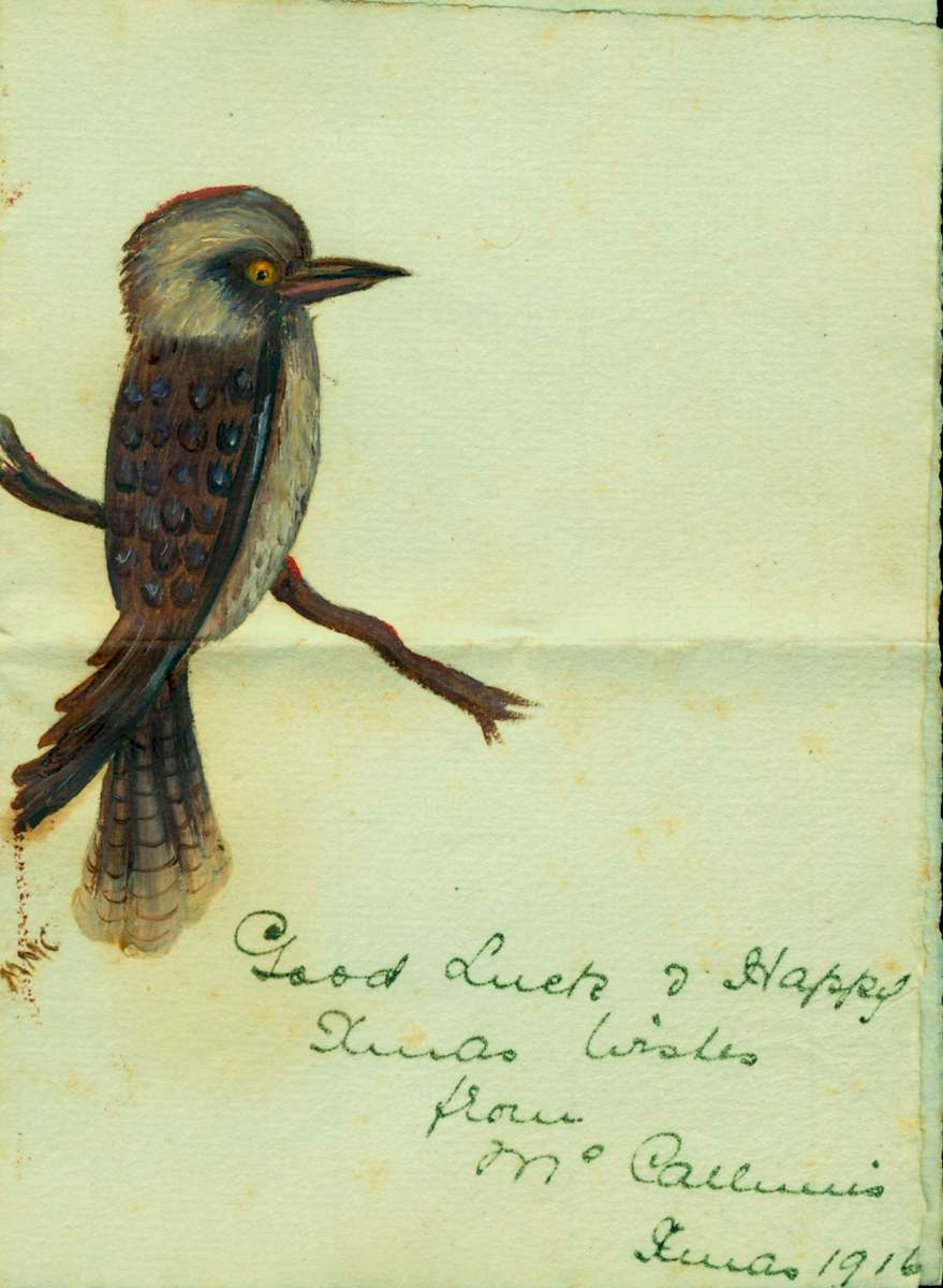 Quintessentially Australian, this hand painted Christmas card was sent to Douglas Fraser of the 1st RNBT while he was serving at Gallipoli, 1916. ANMM collection ANMS1259[010].