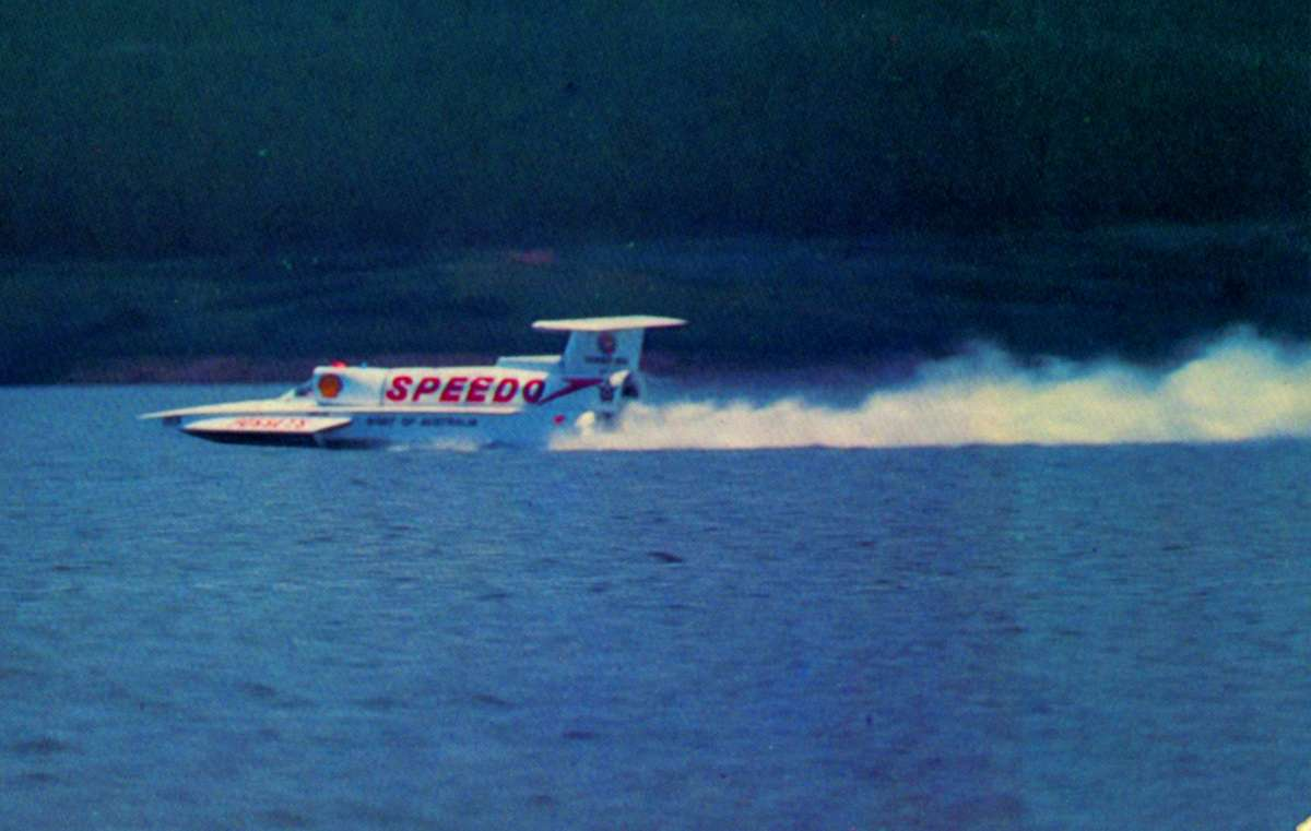 SPIRIT OF AUSTRALIA driven by Ken Warby on Blowering Dam. ANMM Collection ANMS1163[291], courtesy of Graeme Andrews.