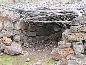 A stone shelter reconstructed at Budj Bim. Portland Tourism Association
