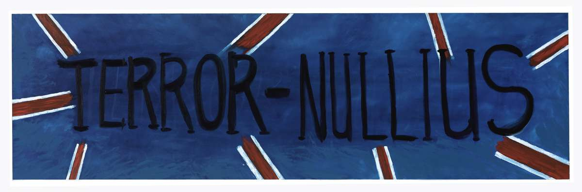 """Terror Nullius"" by Gordon Syron. Oil on canvas 1997. ANMM Collection 00031857."