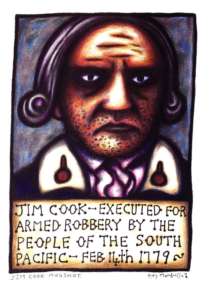 "Reg Mombassa presents ""Jim Cook"" in the style of a"