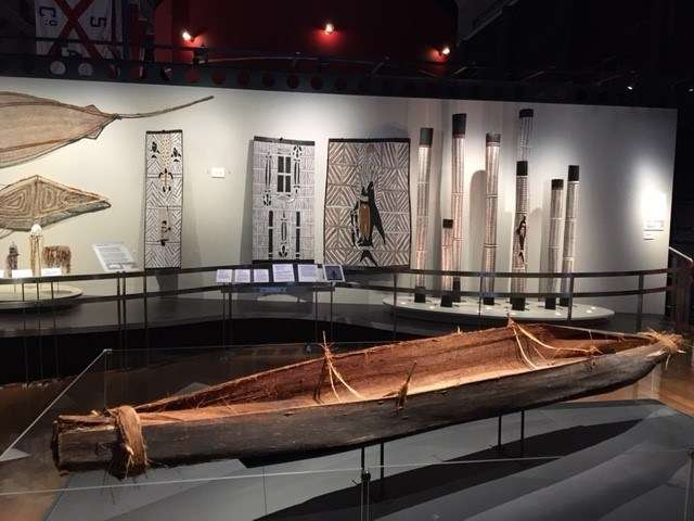 This tied-bark nawi on display at the museum was made in 2014 by students from Lawrence Hargraves School
