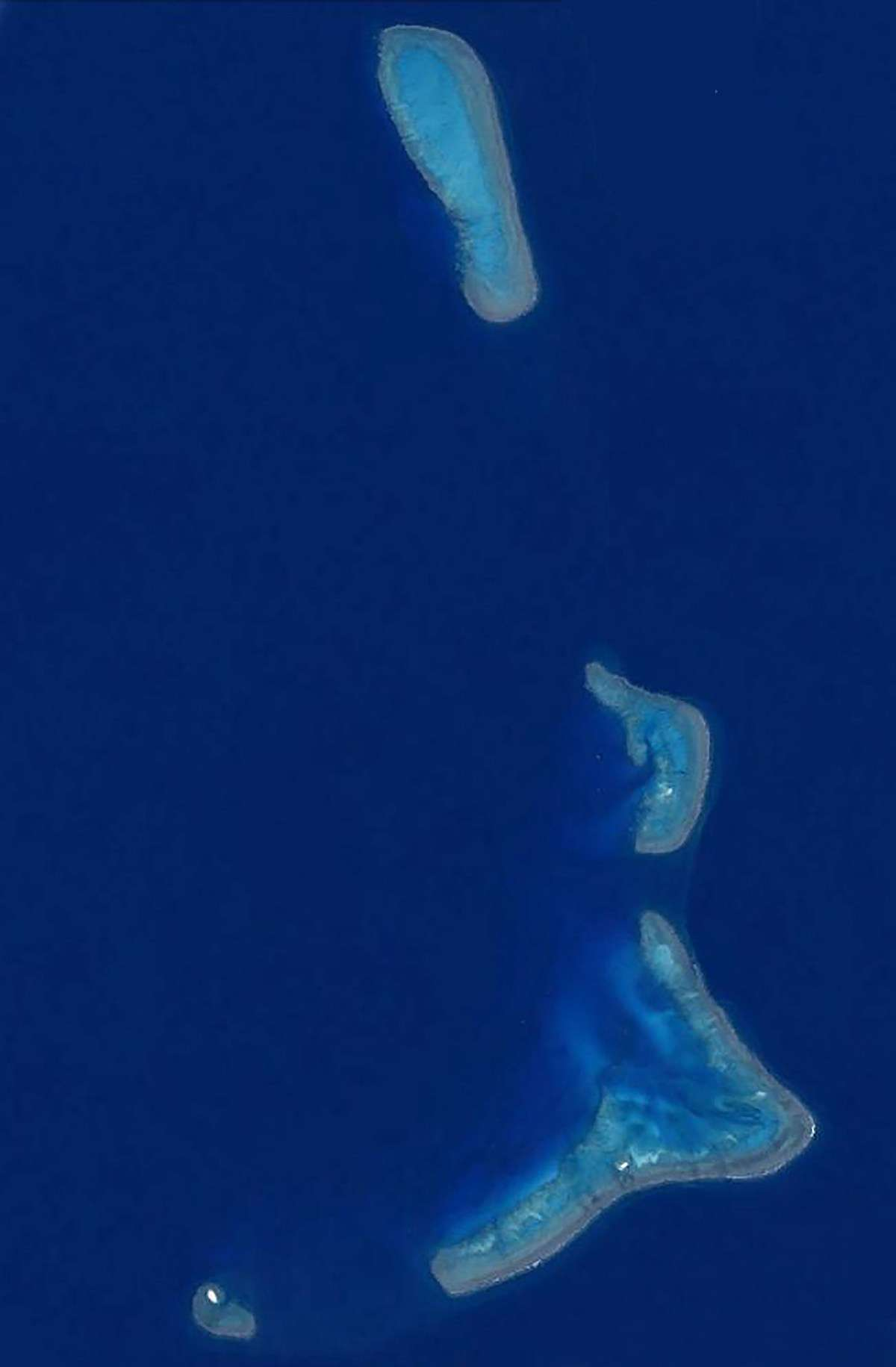 Satellite image of the Kenn Reefs complex. Observatory Cay is located just inside the approximate bottom centre of the 'foot and ankle' reef. Image: Google Earth/Landsat Copernicus.