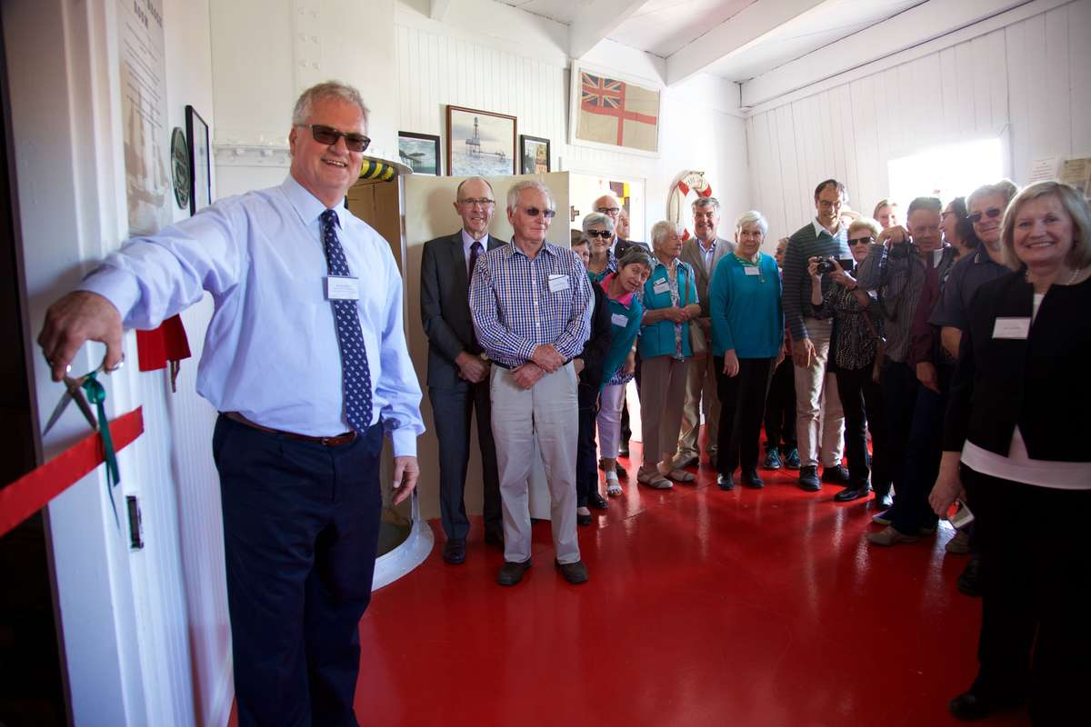 Mr. Peter Rout, ANMM, about to cut the ribbon to open the Margaret Brock Room. (Photo: Mandy Dureau)
