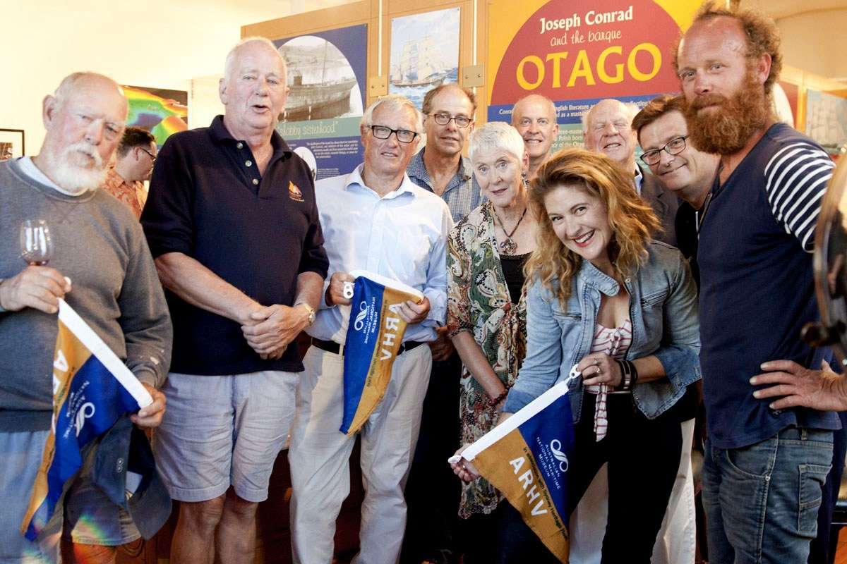 Vessel owners with their pennants at the ARHV presentation with David and Kevin. Image: Sharon Babbage / ANMM.