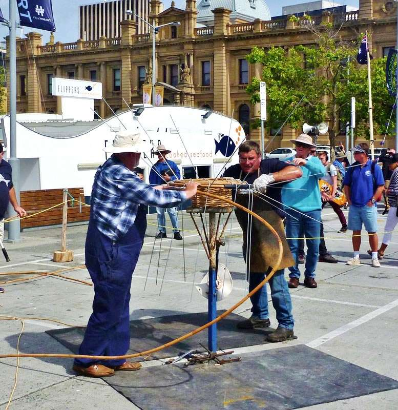 Lobster pot construction being demonstrated. Image: David Payne / ANMM.