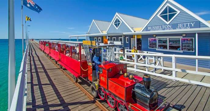 "The Jetty Train is the perfect way to experience the Busselton Jetty. Image: <a href=""http://www.busseltonjetty.com.au"">Busselton Jetty</a>."