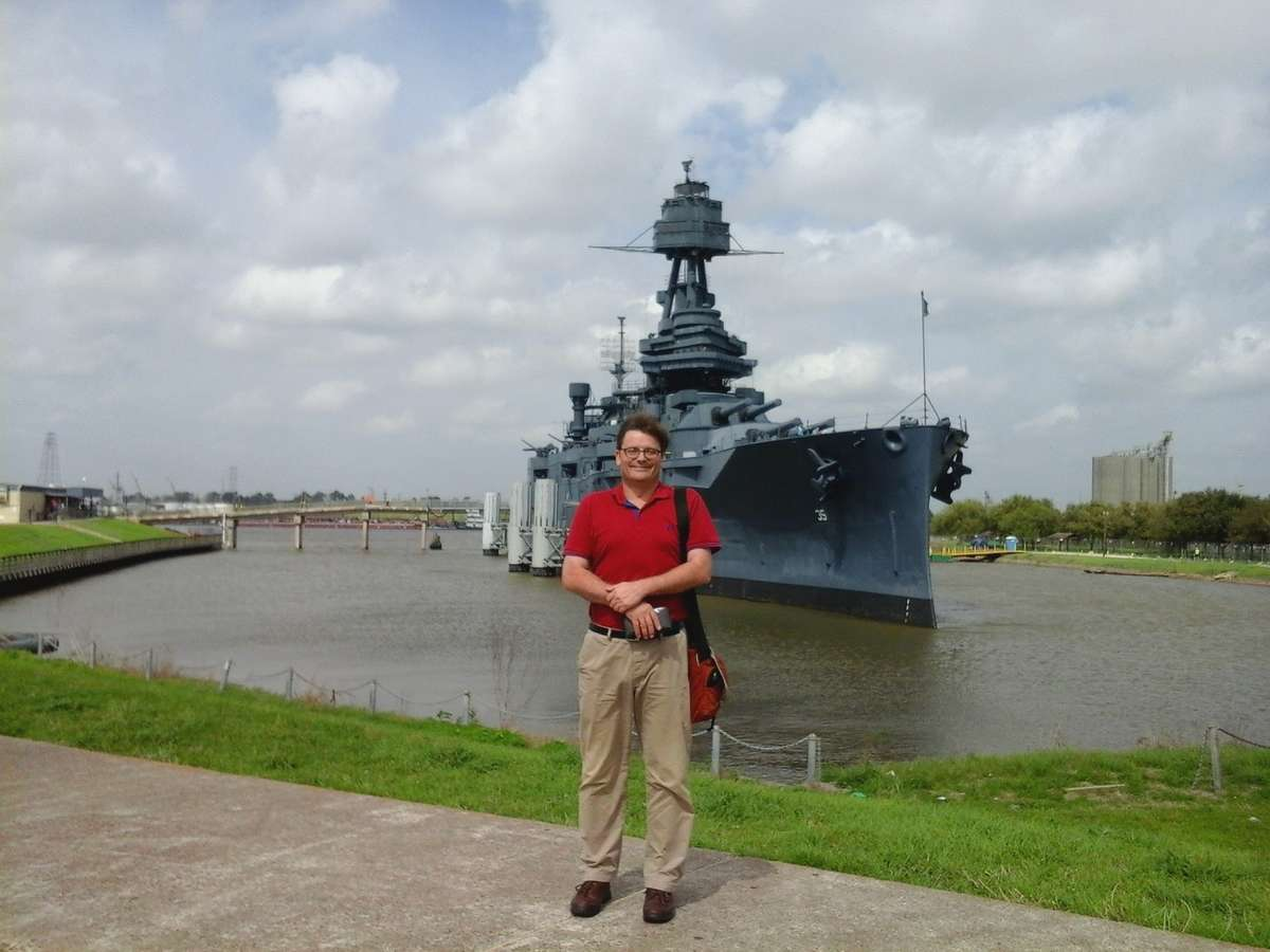 Australian National Maritime Museum Director Kevin Sumption visiting the mighty battleship USS Texas. Image: Lindsey Shaw / ANMM.