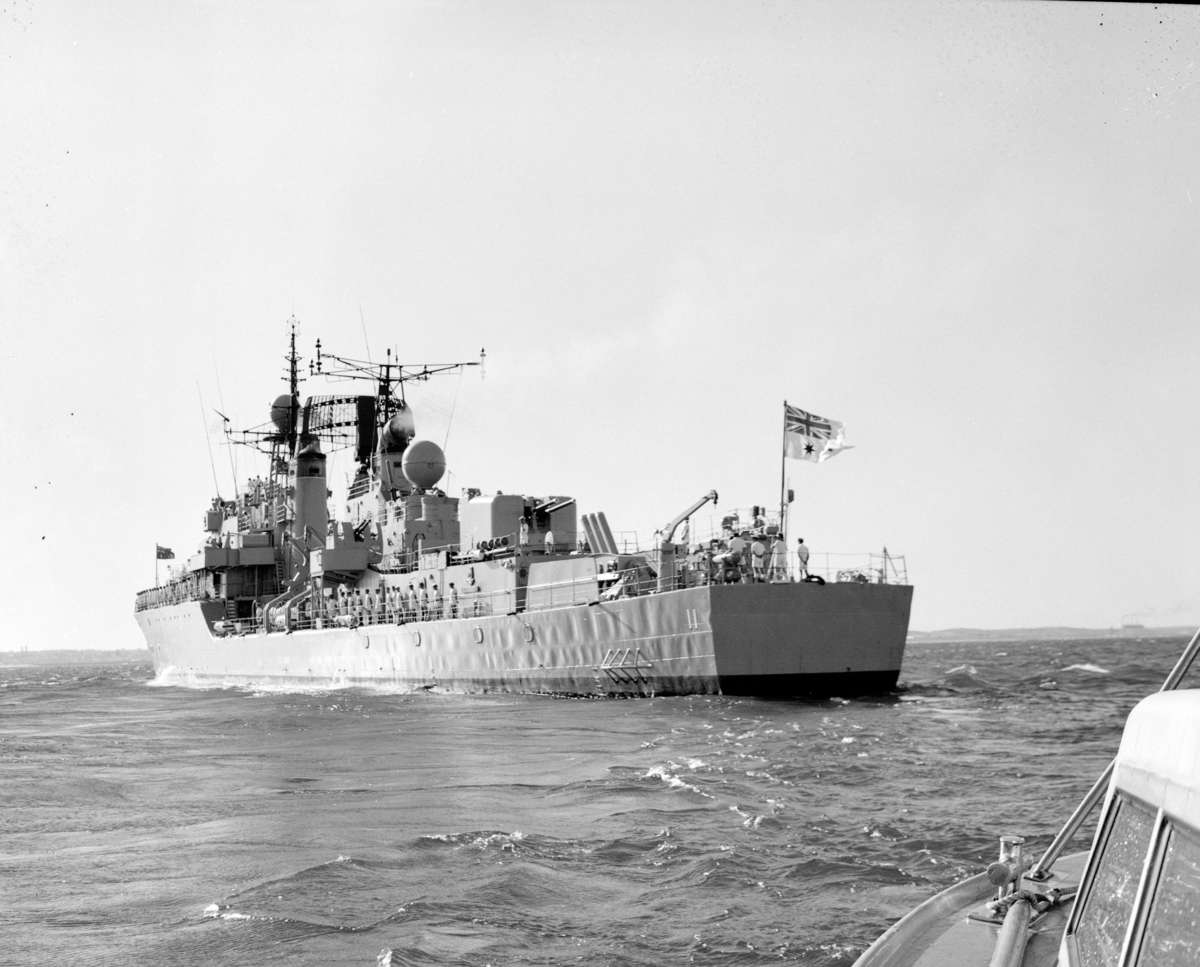 HMAS <em>Vampire</em> flying the Australian White Ensign in 1967. Image: Navy Historic Archive. HMAS Vampire II.